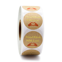 500pcs round kraft paper handmade with love stickers seal label gift packaging stationery sticker decoration