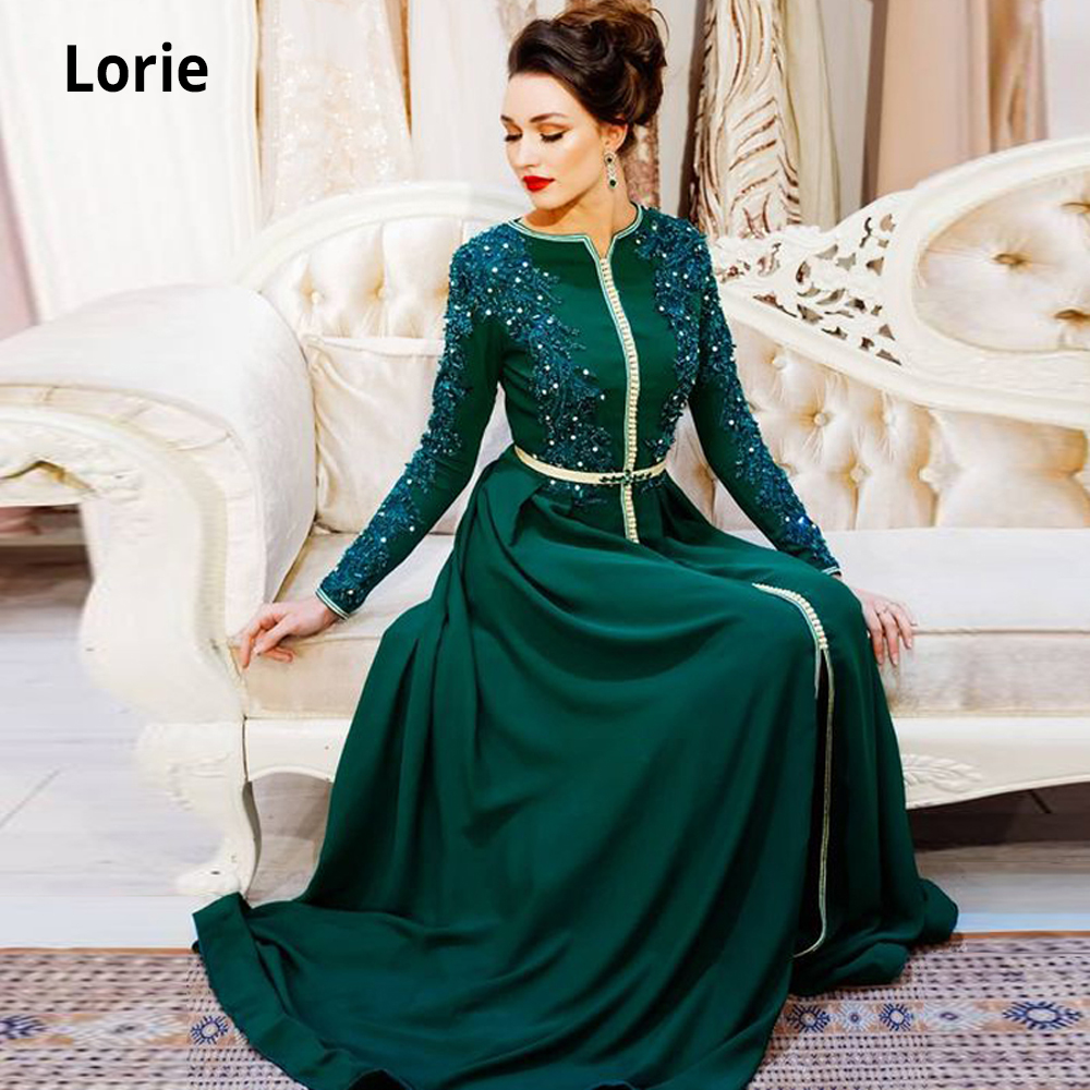 Lorie Green Muslim Moroccan Kaftan Formal Evening Dresses For Women Lace Appliques Dubai Saudi Mother Dresses With Long Sleeve