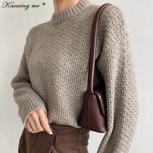 Warm Thick sweater Women 2020 Loose Sweater Knitted Sweater Female winter Solid Tops Elegant Autumn o neck Oversized Pullovers