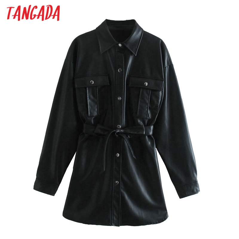 Tangada-Chaqueta de piel sintética con cinturón para mujer, abrigo holgado de manga larga con bolsillo para chico y amigo, color negro, 3H158