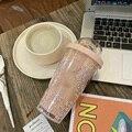 Новый стакан Starlight 450 мл соломенная чашка для холодной воды с радужным декором силиконовая чашка для лета TE889