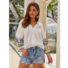 Women Cotton Linen Shirt Top T-Shirt Female Embroidery V-Neck Loose Autumn Casual Wild hc(China)