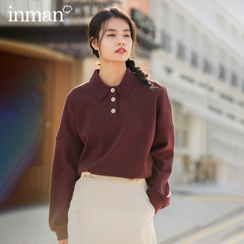 INMAN Winter Contracted Pure Color Polo Collar Whorl Literary Loose All-match Fleece