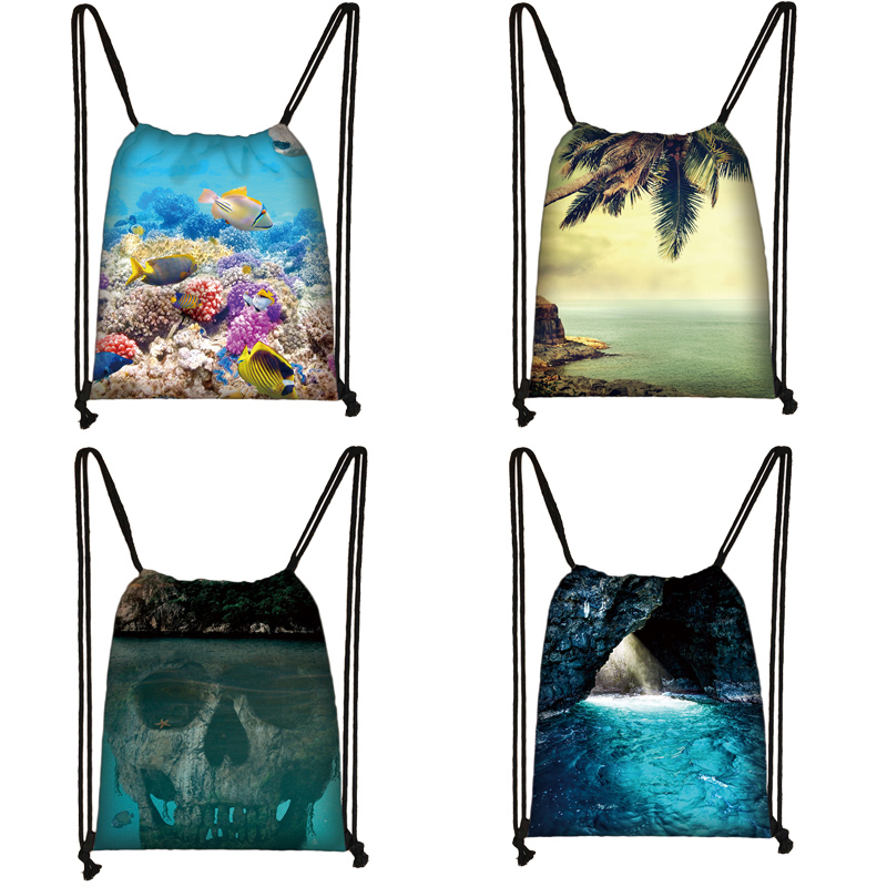 Hawaii Landscape Print Drawstring Bag Women Travel Bag Teenager School Bag Brown Girl And Boy Backpack Fashion Storage Bags To00