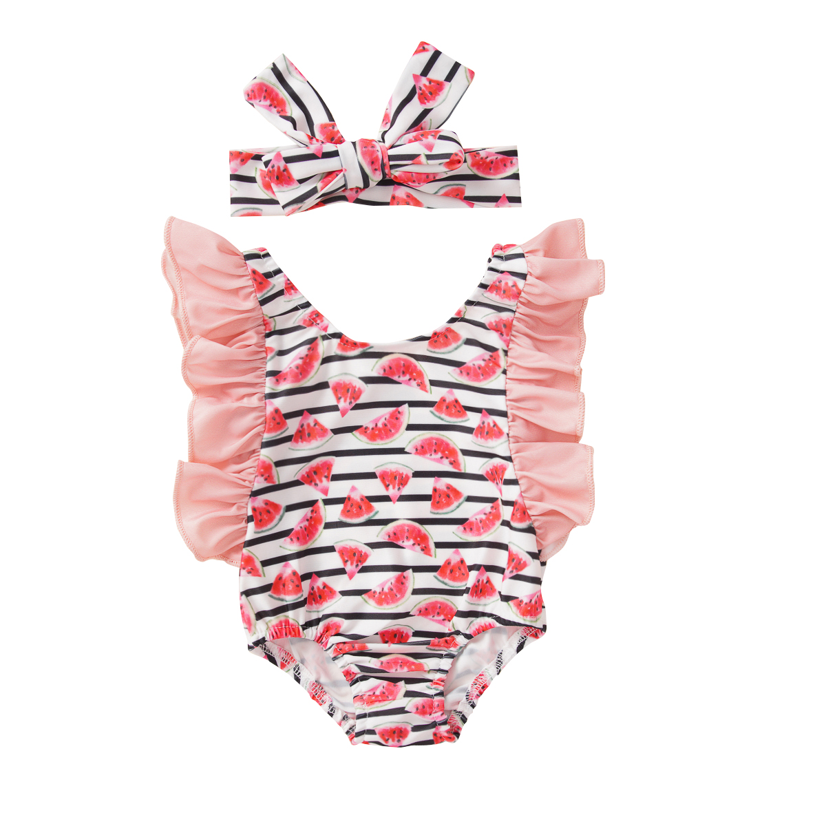 Pudcoco Newborn Baby Girl Clothes Watermelon Print Striped Sleeveless Ruffle Swimsuit Swimwear Swimming Bathing Headband 2Pcs