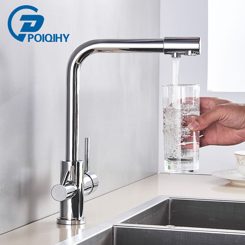 Chrome Purified Water Kitchen Faucet Pure Water Filter Deck Mounted Faucet Crane Dual Handles Hot Cold Water Mixer Taps
