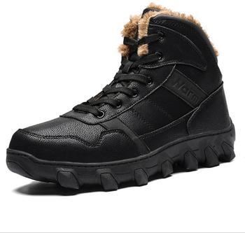 JX720-botas de nieve cálidas de felpa para hombre, zapatos con cordones de...