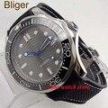 Bliger 41 мм Miyota 8215 мужские водонепроницаемые часы с серсерым циферблатом из холщовой резины  светящийся керамический ободок с сапфировым стек...
