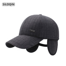 SILOQIN Mans Baseball Cap Autumn Winter Middle-aged Elderly Leisure Warm Caps Adjustable Earmuffs Tongue Dads Hat