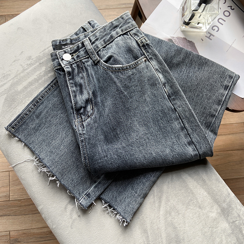 Straight Jeans Woman 2020 Spring New Pants Mouth Brushed Washing Wide-Leg Jeans High-waisted Versatile Casual Jeans Women