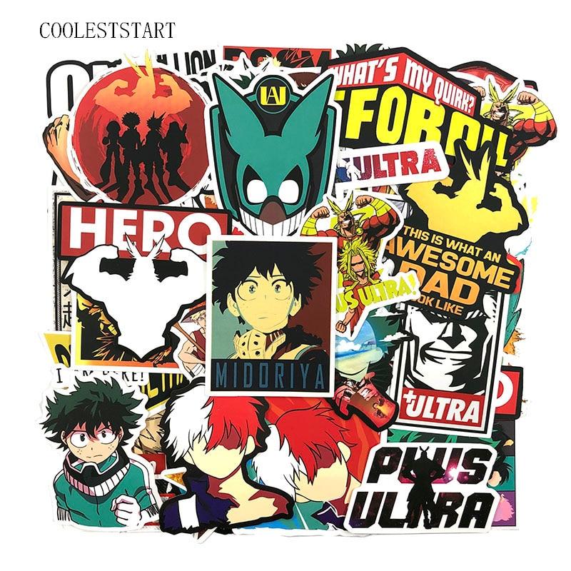 50-100Pcs/set My Hero Academia Stickers Japanese Anime For Motorcycle Laptop Luggage Skateboards Diary Stationery Pegatinas