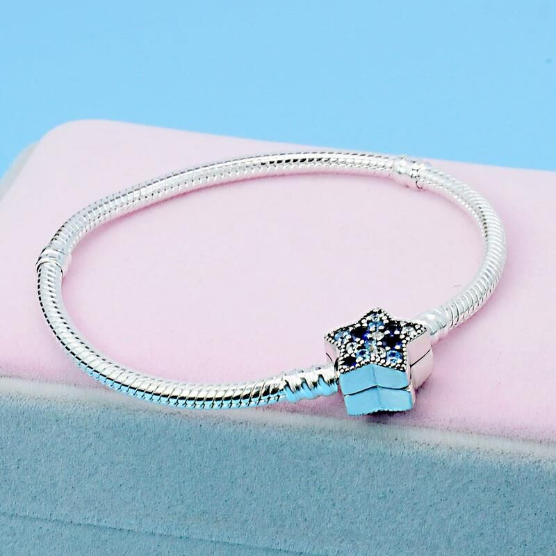 SHEON Sparkling Star Clasp Silver Snake Chain Bracelet Fit Original Pandora Charms for Women Fashion DIY Jewelry 16-21CM