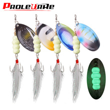 1Pcs Spinner Spoon Luminous Metal Fishing Lure 9g 12g Sequins Spoon Artificial Baits Wobbler Rotating Bait with Treble Hooks