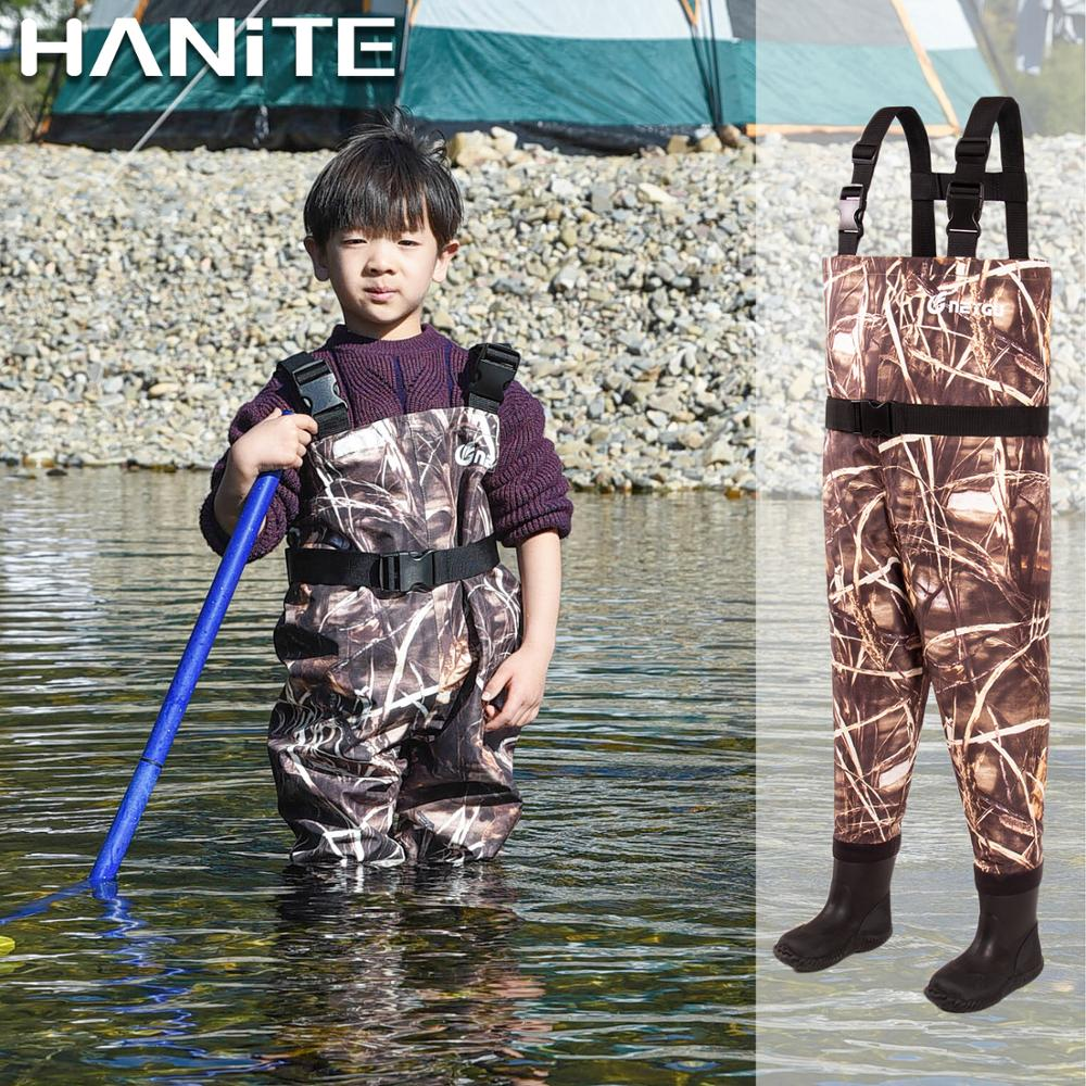 HANITE Kids Breathable Wading Pants, Child Fishing Chest Waders With Anti-Slip Sole Boots, Toddler Waterproof Overalls For Muddy