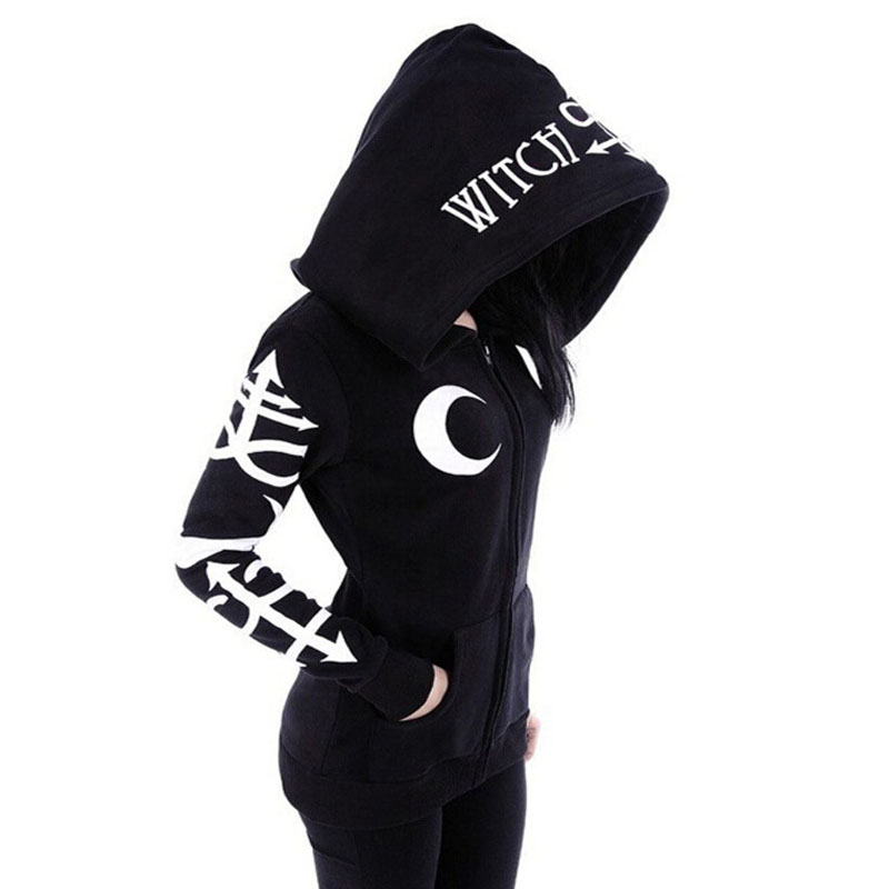 1 Color 5 Size Punk Style Women Hoodies Gothic Moon Letters Printed Sweatshirts  Kpop Clothing Long Sleeve Zipper Jacket Coat