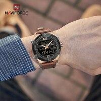 NAVIFORCE-Reloj de pulsera deportivo para hombre, cronógrafo de cuarzo, con alarma Digital, resistente al agua, doble horario, militar, dorado, de lujo