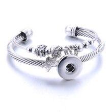 2020 nova moda ajustável corrente estrela pulseiras de metal snap pulseira ajuste 18mm snap botões diy snap jóias para mulher
