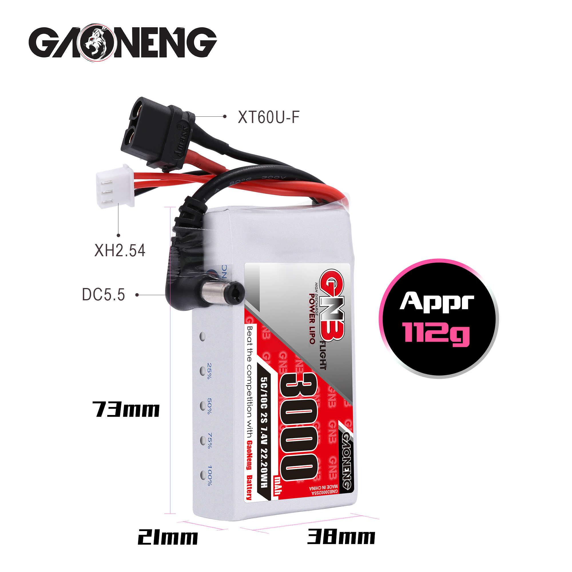 Gaoneng GNB 3000MAH 2 7,4 V 5C DC5.5mm XT60 gafas Lipo Indicador de energía de la batería para 0 Fatshark Dominator Skyzone Aomway RC Drone