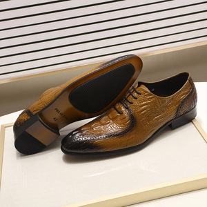 Image 3 - Fashion Mens Oxford Shoes Genuine Leather Classic Crocodile Alligator Print Pointed Toe Lace Up Dress Shoes for Men
