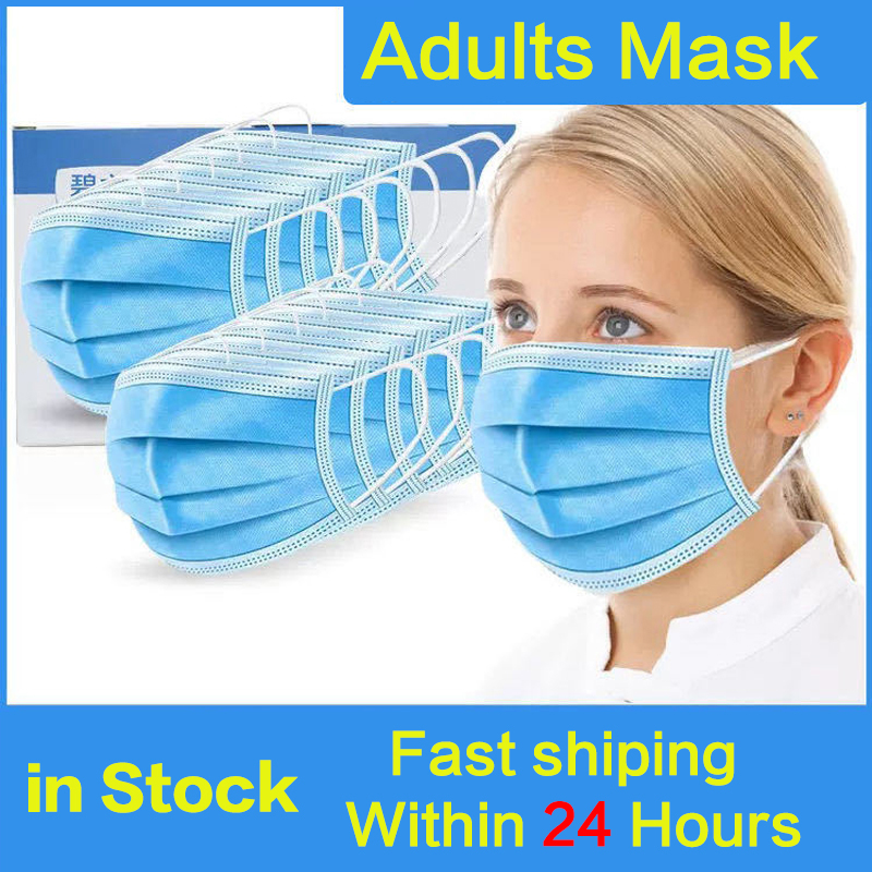 100pcs Face Masks Anti-Dust Protective Masks Disposable Anti-Pollution 3 Layer Mask Elastic Earloops Non Woven Filter Mask