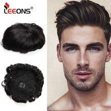 Популярные человеческие волосы Leeons, прочные волосы, кружевные парики для мужчин, европейские волосы Remy, мужской парик, бесплатная доставка
