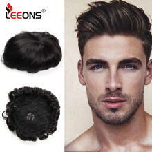 Leeons populaire cheveux humains pièces durables postiches dentelle perruques pour hommes cheveux pièces européen Remy cheveux hommes perruque livraison gratuite