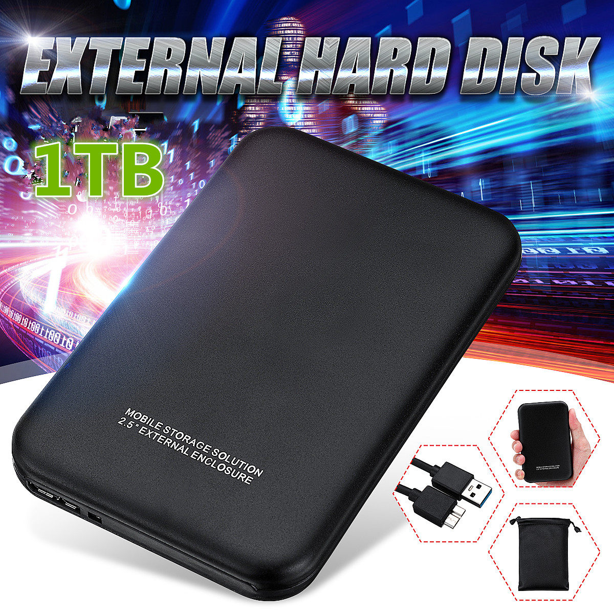 USB 3.0 PC Hard Drive 1T Neutral Hard Drive Black Upgrade High Transmission Support HDD/SSD With USB Cable Business