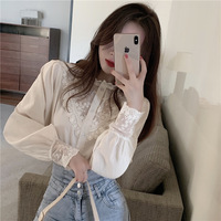 Very Fairy of Long Sleeve Lace Blouse Women's 2020 Spring New Style Korean style Western Style Underwear Sweater Online Celebrit