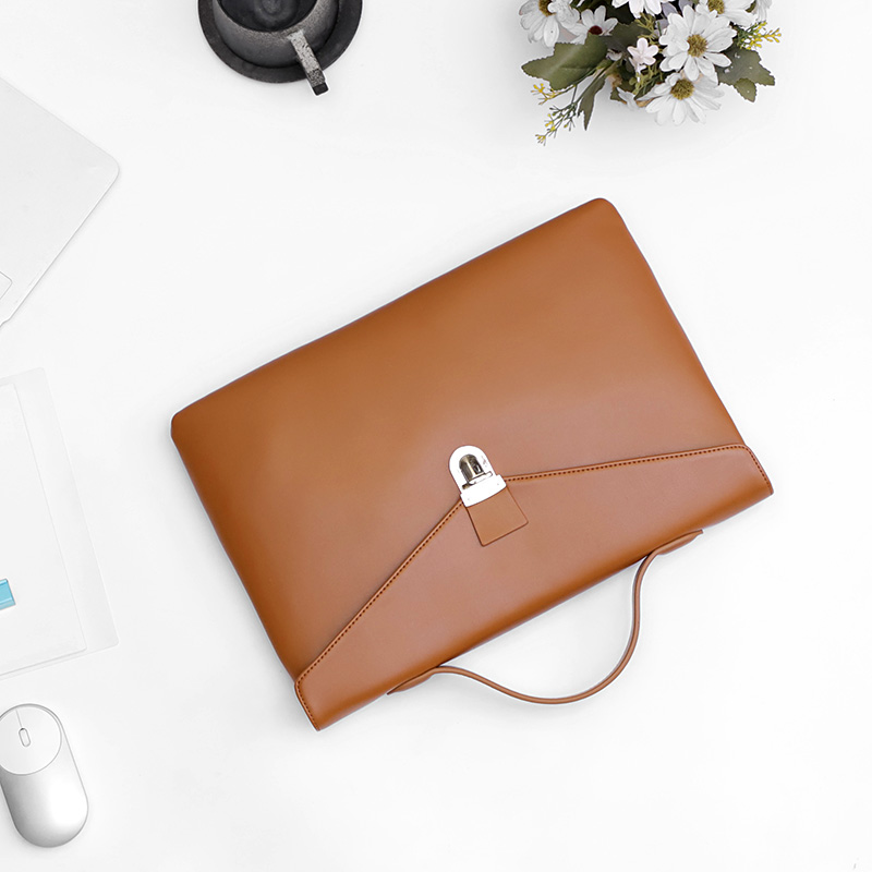 Simple 13-inch Laptop Bag Leather Male Business Bag Men's Thin Section File Handbag Briefcase Cross Section