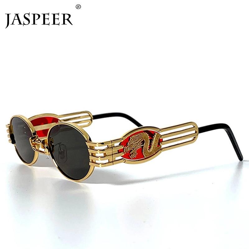 JASPEER Sunglasses Men Women Dragon Round Glasses Metal Frame Steampunk Black Gold Sun Glasses Vintage Brand Man Sunglasses