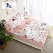Liv-Esthete Nordic Bedding Set Cartoon Duvet Cover Double Bed Linen Bedspread Flat Sheet Decorative Bedclothes Home Textiles
