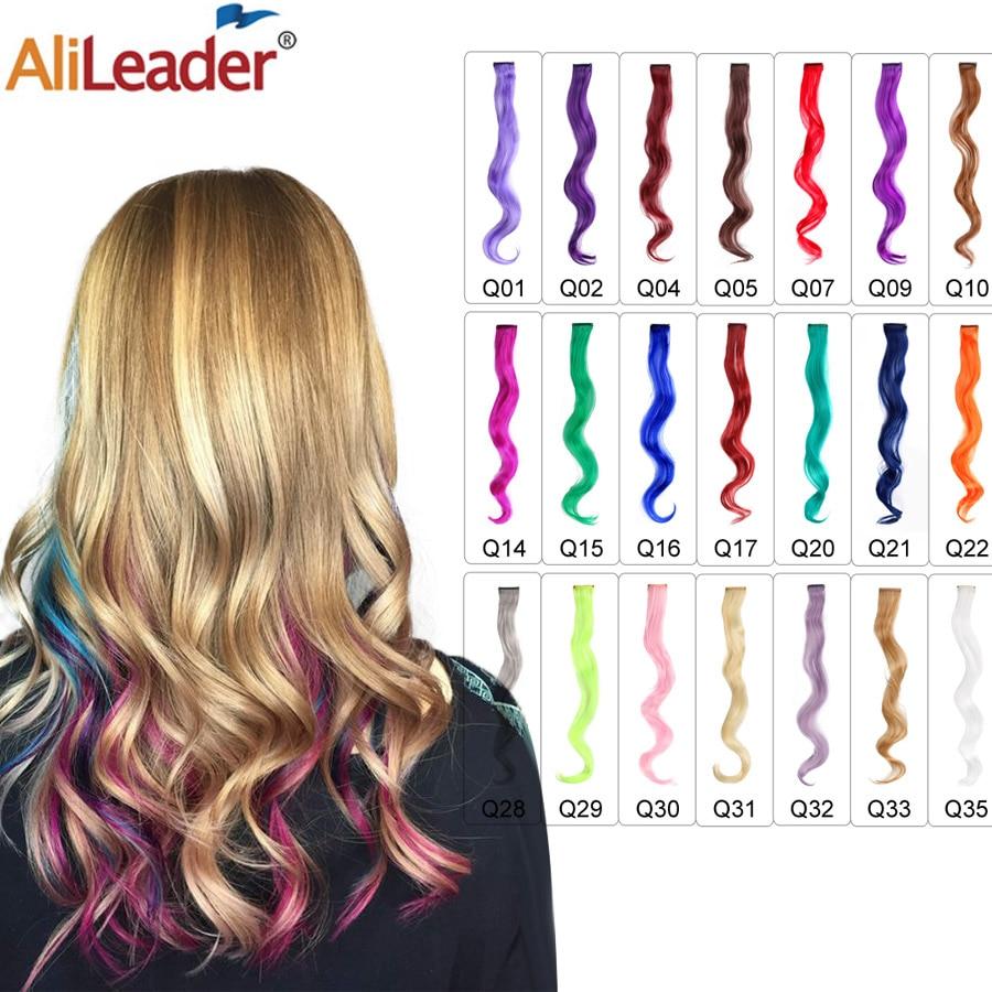 Alileader 18 inç kıvırcık klip bir saç ekleme doğal uzun sentetik saç parçaları kadınlar için kız pembe mavi renkli