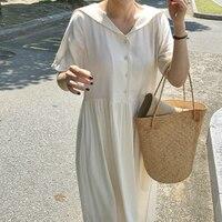 Women Summer Long Cotton Shirt Dress Ruffle A Line Sailor Collar Vestidos White Robe Femme Sukienki Casual Sommerkleid Jurken