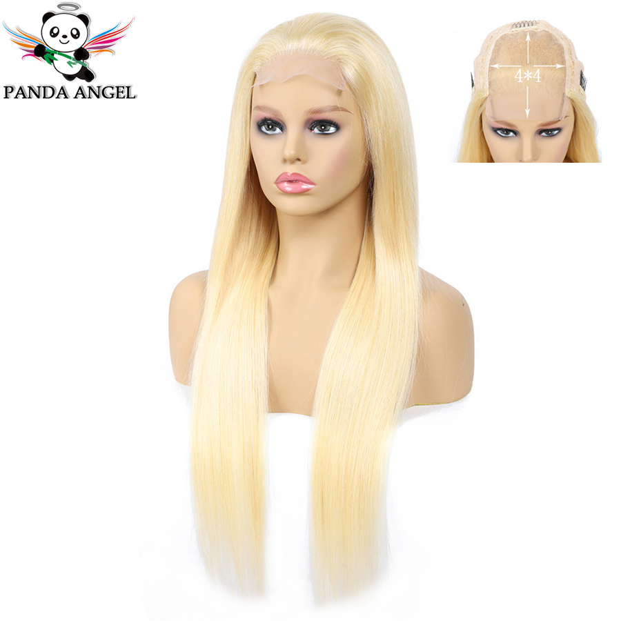 Panda 4x4 Honey Blonde Lace Wigs #613 Brazilian Hair Ombre Straight Lace Closure Wig 150% Density Blonde Human Hair Wigs Remy