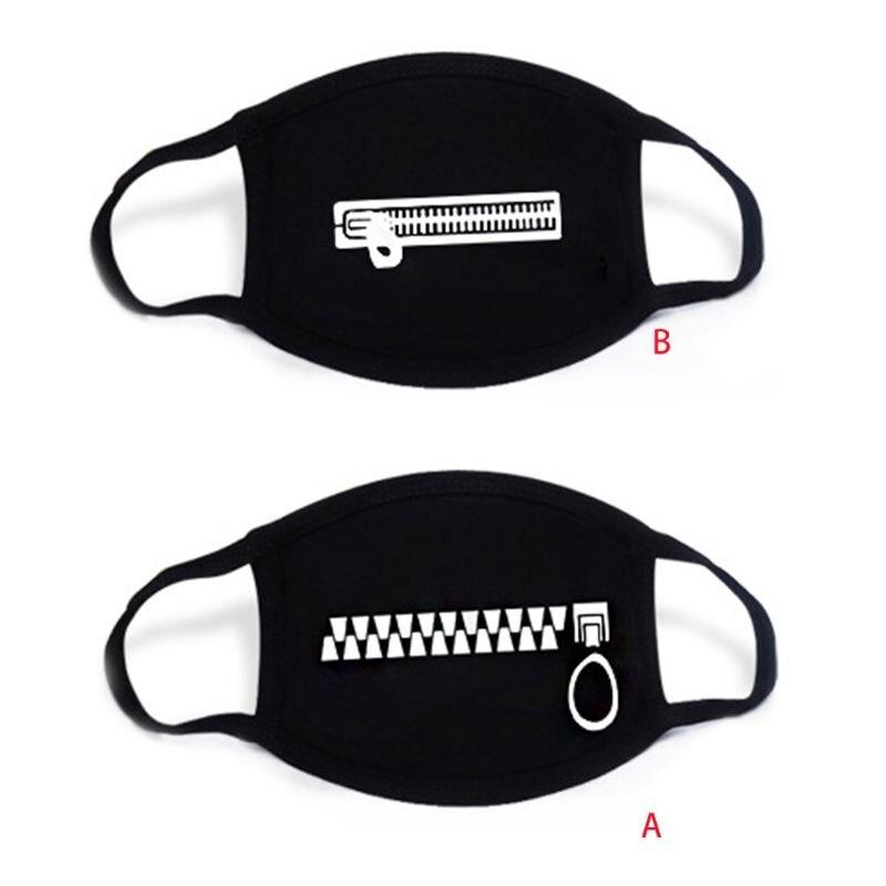 Unisex Cartoon Anime Cotton Mask Zipper Teeth Print Anti-Dust Earloop Respirator M6CD
