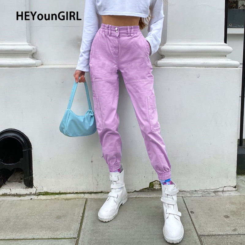 HEYounGIRL Pink Casual Cargo Pants Women Summer Ealstic High Waist Long Trousers Ladies Fashion Streetwear Harajuku Joggers 2020