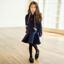 Girl Winter Dress New Velvet Long Sleeve Warm School Blue Sport Teen Fall Autumn Clothing Todder 4 To 14 Year High Quality