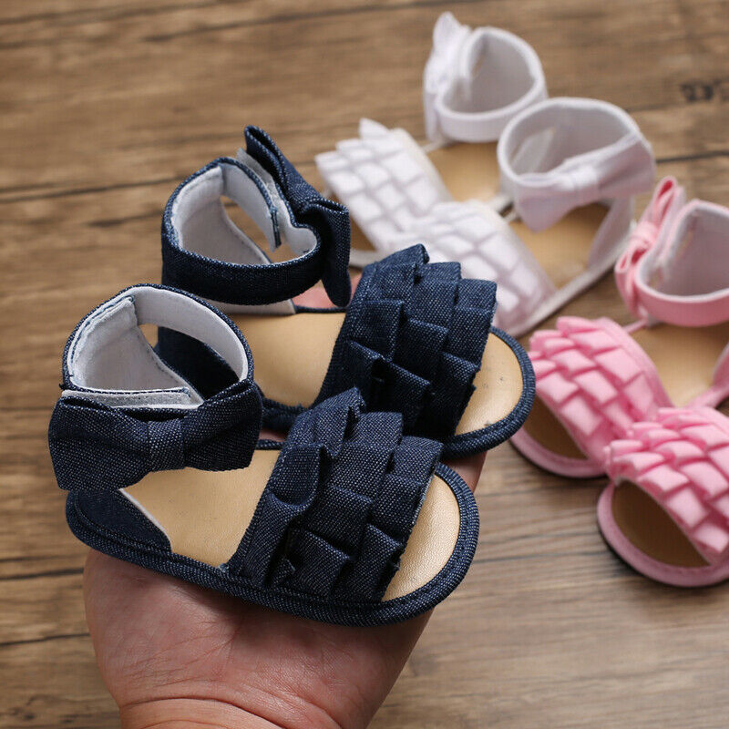 Summer Newborn Baby Girl Sandals Canvas Ruffles Solid Colors Infant Soft Crib Shoes Moccasins-Shoes Sandals 0-18M