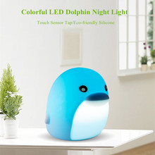 Cartoon Silicone Dolphin Night Light USB Rechargeable Touch Sensor Colorful LED Animal Night Lamp for Children Kids Baby Gift mumeng led night light motion sensor baby usb cute whale rechargeable children night lamp toy lights silicone safety dolphin