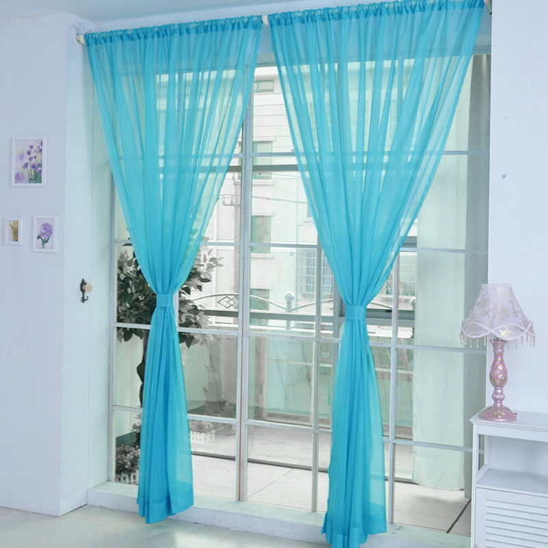 Cortinas Curtain Pure Color Tulle Door Window Curtain Drape Panel Sheer Scarf Valances Modern Bedroom Living Room Curtains