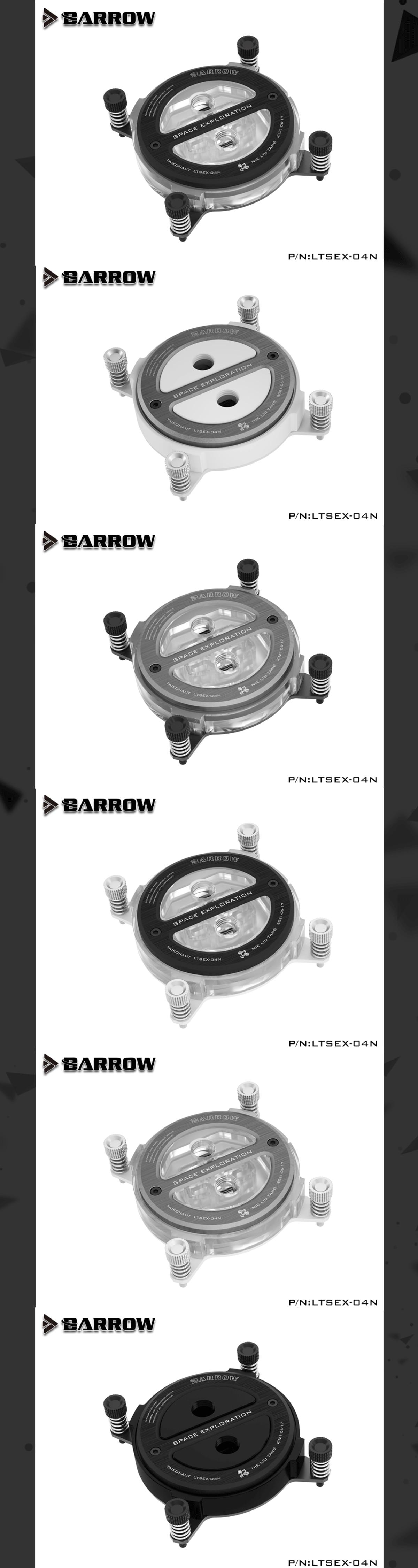 Barrow Astronaut Series CPU Water Block For Intel AMD , Acrylic/POM Liquid Cooling System Micro Waterway LTSE-04N LTSEA-04N LTSEX-04N