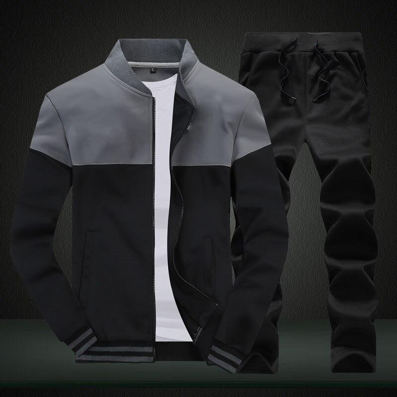 2020 New Men Sets Fashion Sporting Suit Brand Patchwork Zipper Sweatshirt +Sweatpants Mens Clothing 2 Pieces Sets Slim Tracksuit 1
