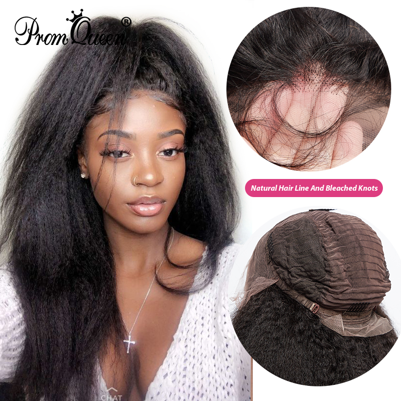 Kinky Straight Lace Front Human Hair Wigs Glueless Brazilian Remy Hair Pre Plucked 150% Density  Human Hair Wigs