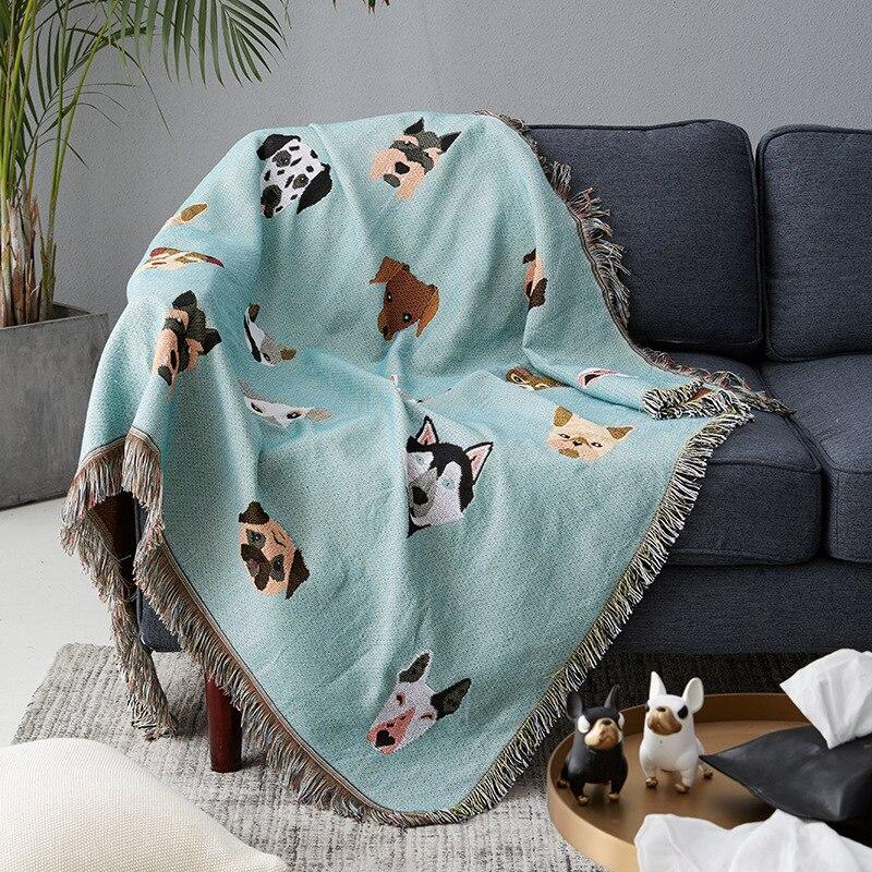 Cute Dog Print Throw Blanket Multifunction Knitted Universal Blanket Non-slip Blankets Slipcover Cobertor For Sofa Bed Travel