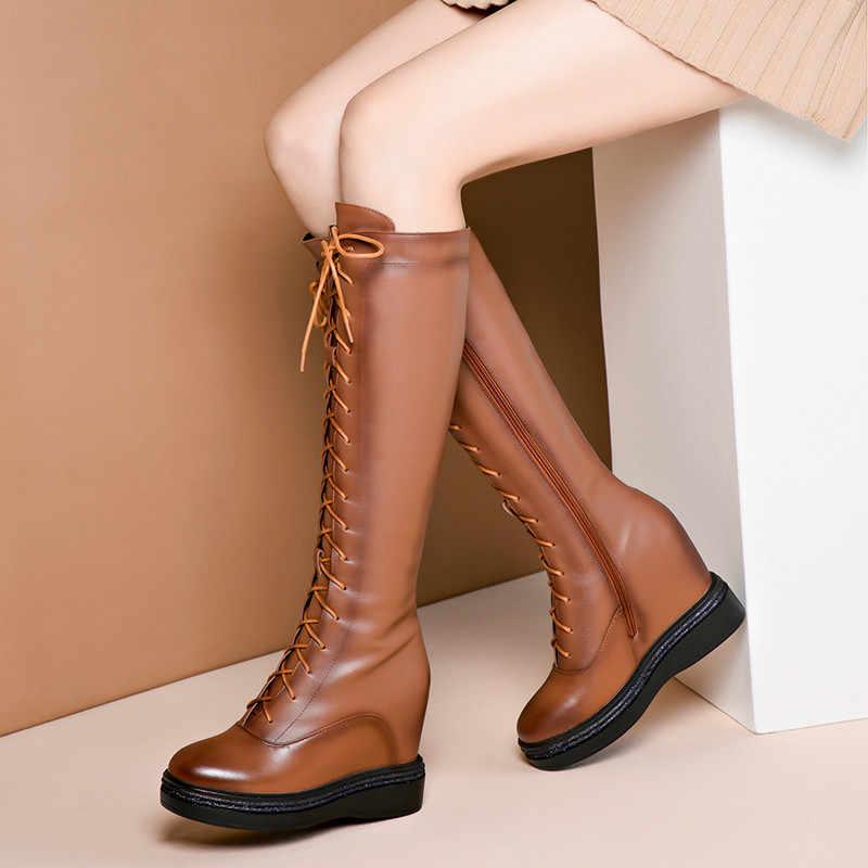 ASUMER ขนาด 34-40 แฟชั่นของแท้หนังรองเท้าผู้หญิงแพลตฟอร์มรองเท้าเข่า CROSS ผูกภายในความสูง Wedges ฤดูหนาวรองเท้า