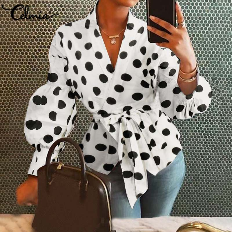 Celmia Stylish Tunic Tops Sexy Point Dot Blouse Women's Elegant OL Belted Long Lantern Sleeve Shirts Ladies Casual Loose Blusas