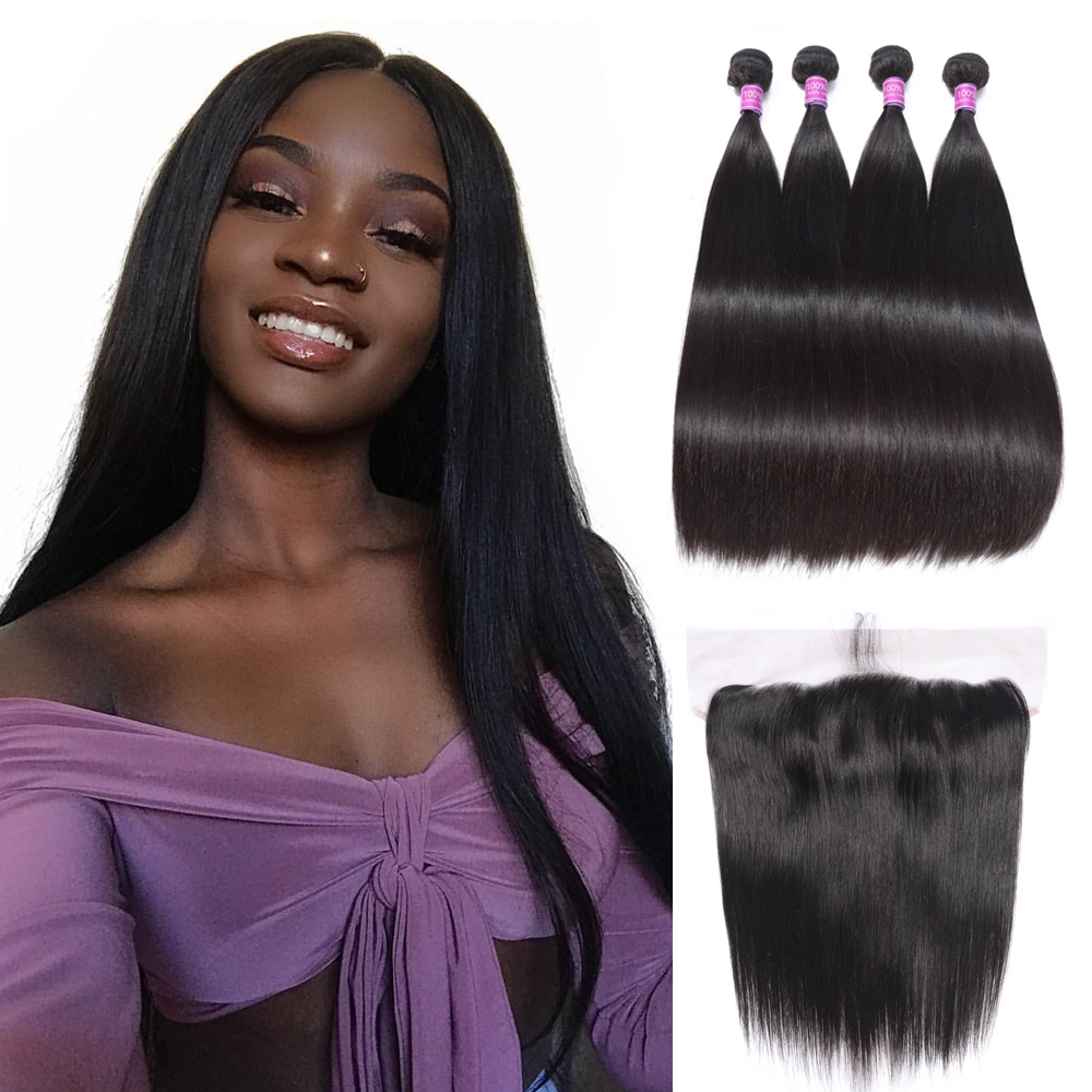 Brazilian Human Hair Bundles With Lace Frontal 3 Bundles With Lace Closure Natural Color Remy Virgin Human Hair 13x4 Lace Front