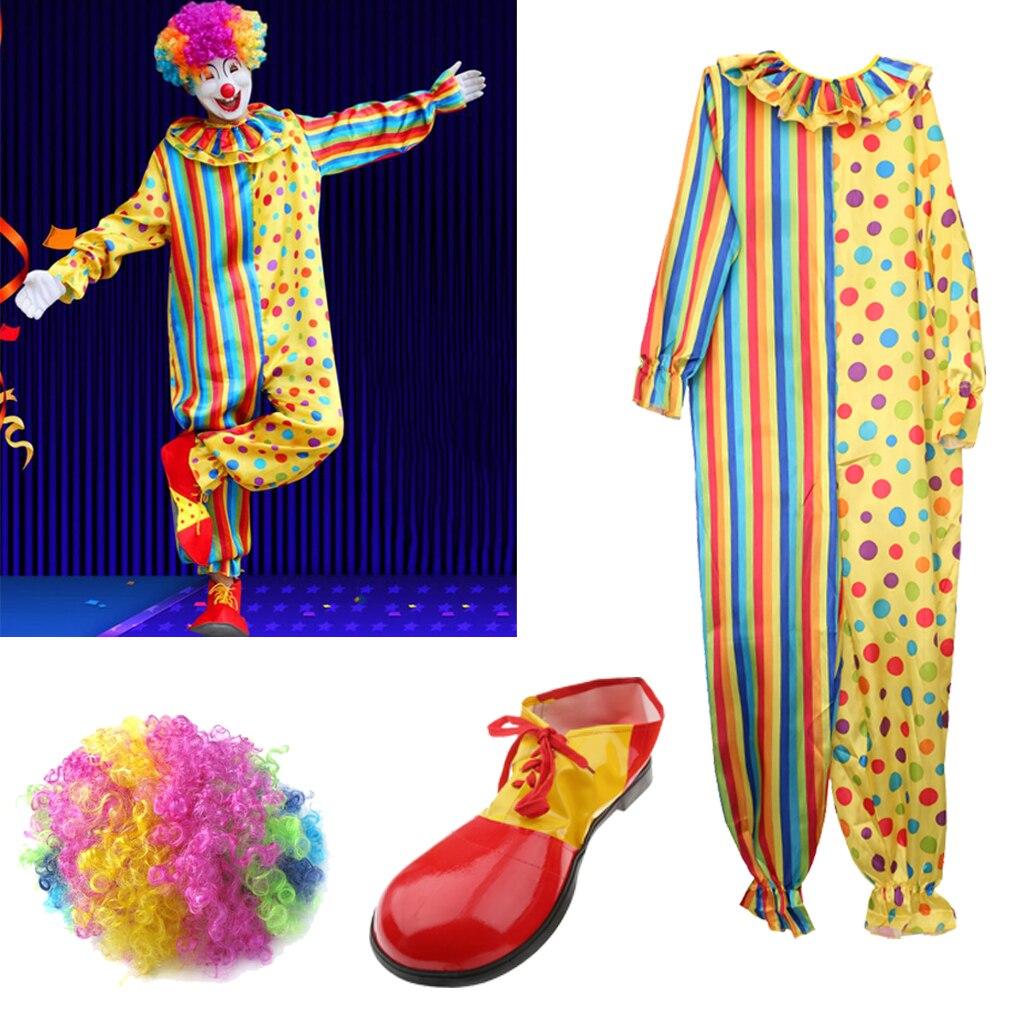 Костюм клоуна комплект Косплэй вечерние Стадия Необычные платья афро парик наряд комбинезоны