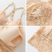 Hollow Out Back Lace Wireless Bra RK