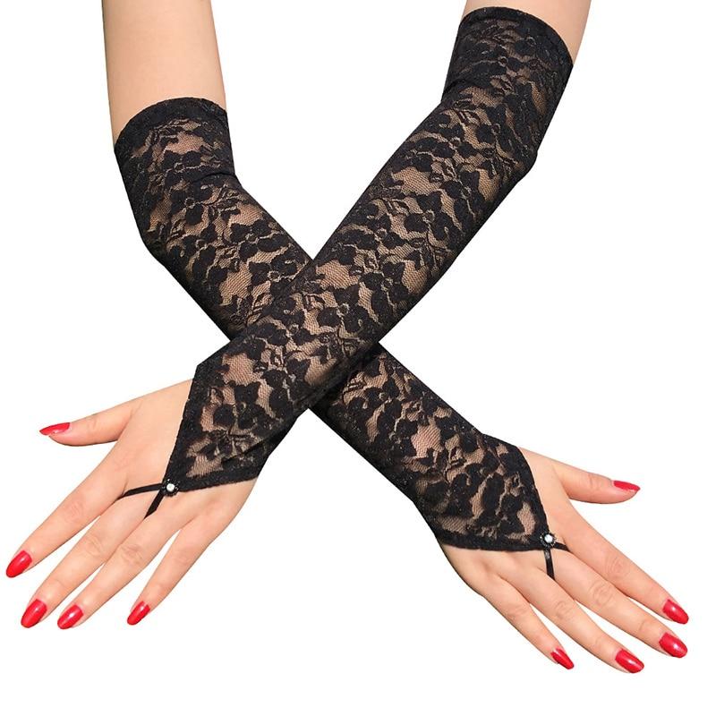Arm Ellenbogen Handschuhe Stretch Frauen Fingerlose Lange Spitze Handschuhe Kleid Zubehör Sexy Floral Transparent Elegante Arm Hülse Weiß